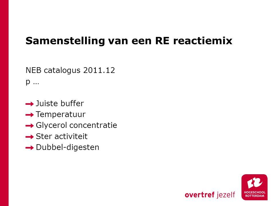 Samenstelling van een RE reactiemix NEB catalogus 2011.12 p … Juiste buffer Temperatuur Glycerol concentratie Ster activiteit Dubbel-digesten