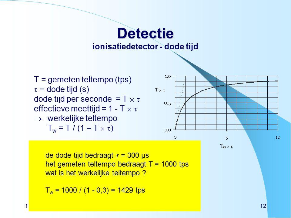 11/01/2016detectie niveau 312 Detectie Detectie ionisatiedetector - dode tijd T = gemeten teltempo (tps)  = dode tijd (s) dode tijd per seconde = T   effectieve meettijd = 1 - T    werkelijke teltempo T w = T / (1 – T   ) de dode tijd bedraagt  = 300 µs het gemeten teltempo bedraagt T = 1000 tps wat is het werkelijke teltempo .