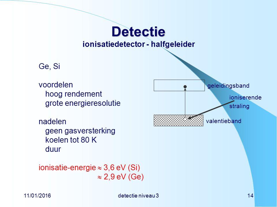 11/01/2016detectie niveau 314 Detectie Detectie ionisatiedetector - halfgeleider Ge, Si voordelen hoog rendement grote energieresolutie nadelen geen gasversterking koelen tot 80 K duur ionisatie-energie  3,6 eV (Si)  2,9 eV (Ge) valentieband geleidingsband ioniserende straling