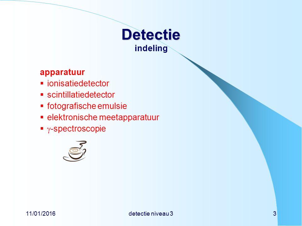 11/01/2016detectie niveau 33 Detectie Detectie indeling apparatuur  ionisatiedetector  scintillatiedetector  fotografische emulsie  elektronische meetapparatuur   -spectroscopie