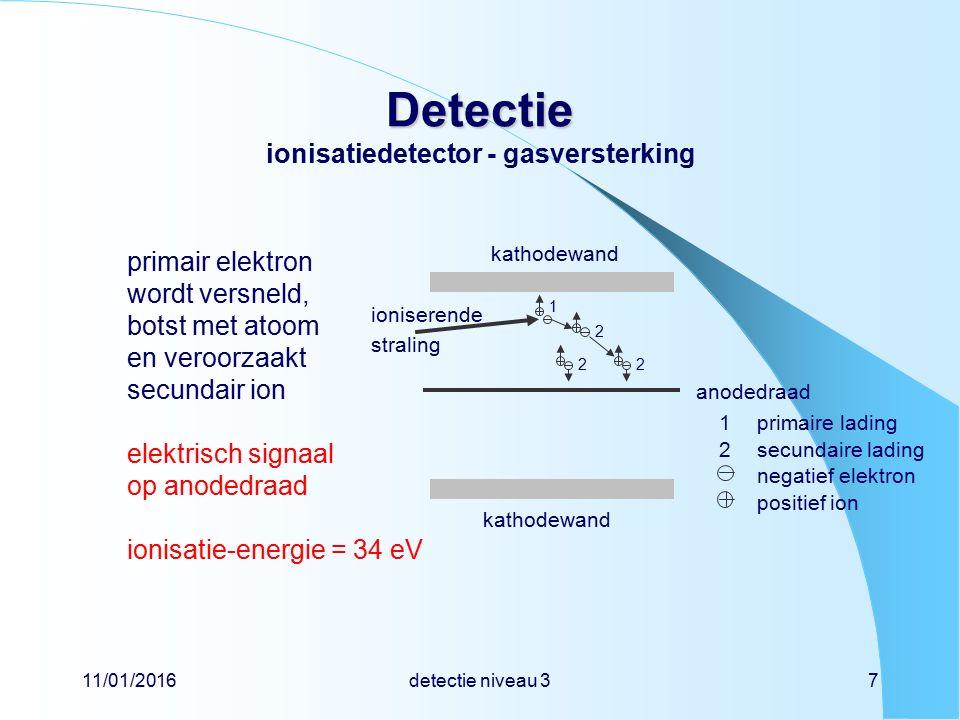 11/01/2016detectie niveau 37 Detectie Detectie ionisatiedetector - gasversterking primair elektron wordt versneld, botst met atoom en veroorzaakt secundair ion elektrisch signaal op anodedraad ionisatie-energie = 34 eV secundaire lading positief ion negatief elektron 1primaire lading 2 kathodewand anodedraad ioniserende straling 1 22 2