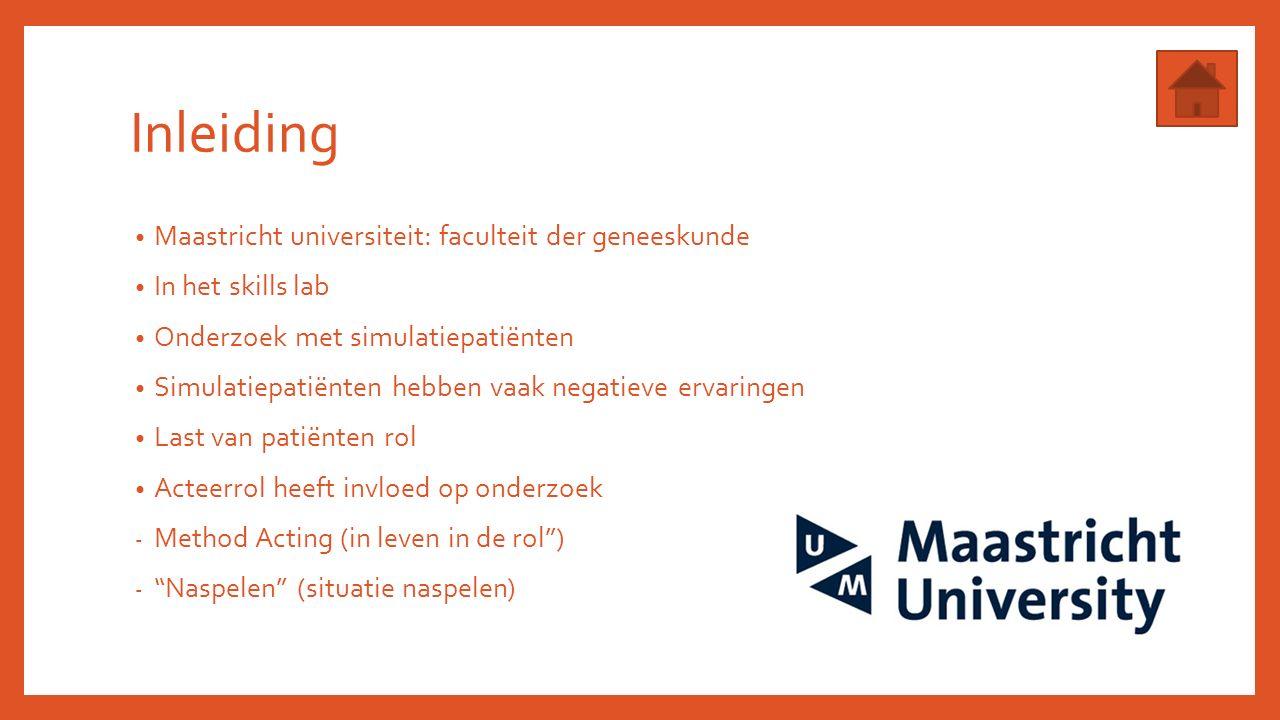 Inleiding Maastricht universiteit: faculteit der geneeskunde In het skills lab Onderzoek met simulatiepatiënten Simulatiepatiënten hebben vaak negatieve ervaringen Last van patiënten rol Acteerrol heeft invloed op onderzoek - Method Acting (in leven in de rol ) - Naspelen (situatie naspelen)