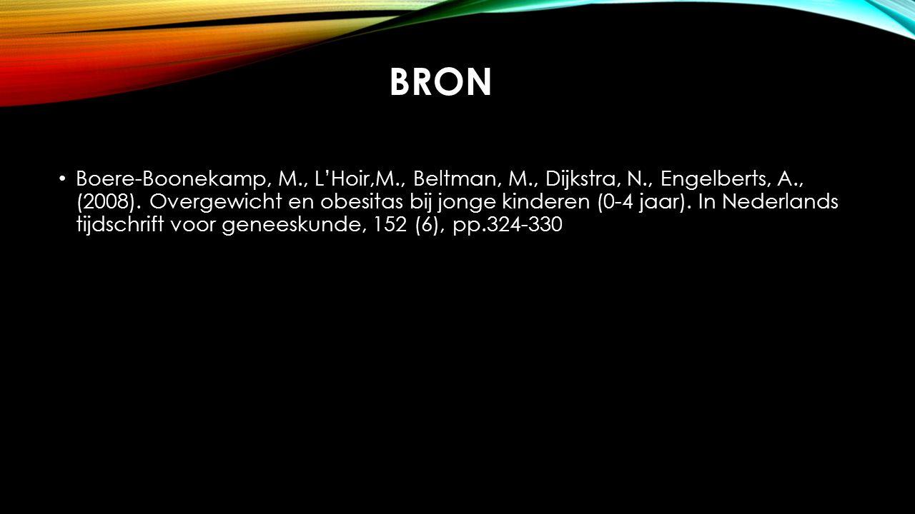 BRON Boere-Boonekamp, M., L'Hoir,M., Beltman, M., Dijkstra, N., Engelberts, A., (2008). Overgewicht en obesitas bij jonge kinderen (0-4 jaar). In Nede