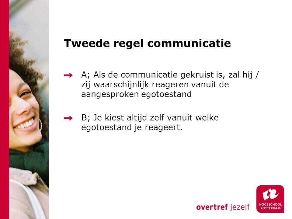 Tweede regel communicatie A; Als de communicatie gekruist is, zal hij / zij waarschijnlijk reageren vanuit de aangesproken egotoestand B; Je kiest alt