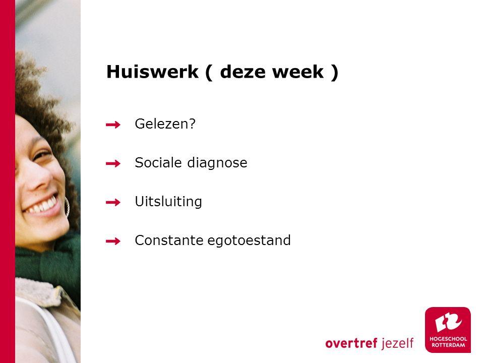 Huiswerk ( deze week ) Gelezen? Sociale diagnose Uitsluiting Constante egotoestand