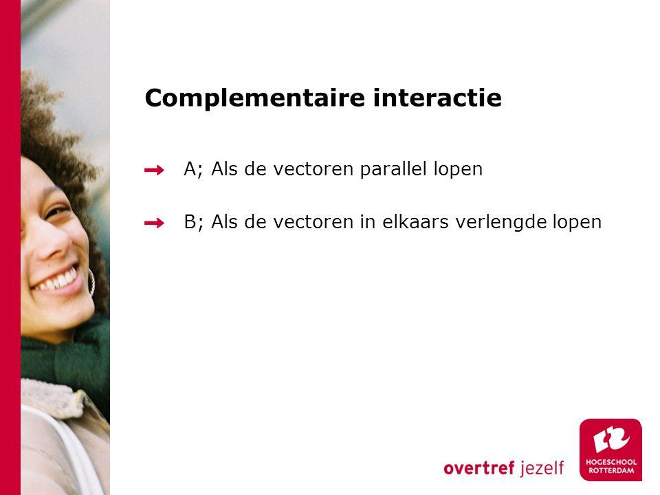 Complementaire interactie A; Als de vectoren parallel lopen B; Als de vectoren in elkaars verlengde lopen