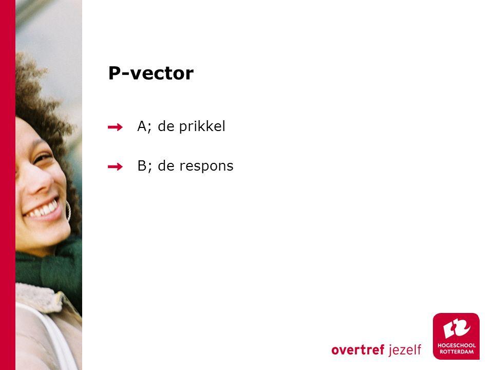 P-vector A; de prikkel B; de respons