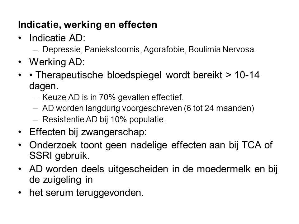 Indicatie, werking en effecten Indicatie AD: –Depressie, Paniekstoornis, Agorafobie, Boulimia Nervosa. Werking AD: Therapeutische bloedspiegel wordt b