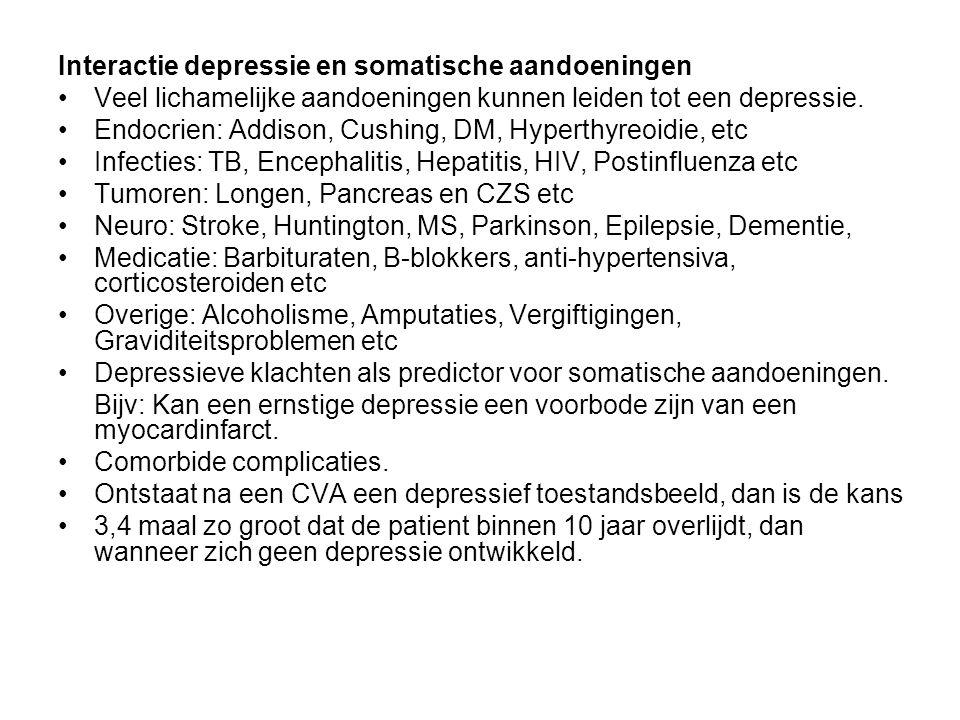 Interactie depressie en somatische aandoeningen Veel lichamelijke aandoeningen kunnen leiden tot een depressie. Endocrien: Addison, Cushing, DM, Hyper