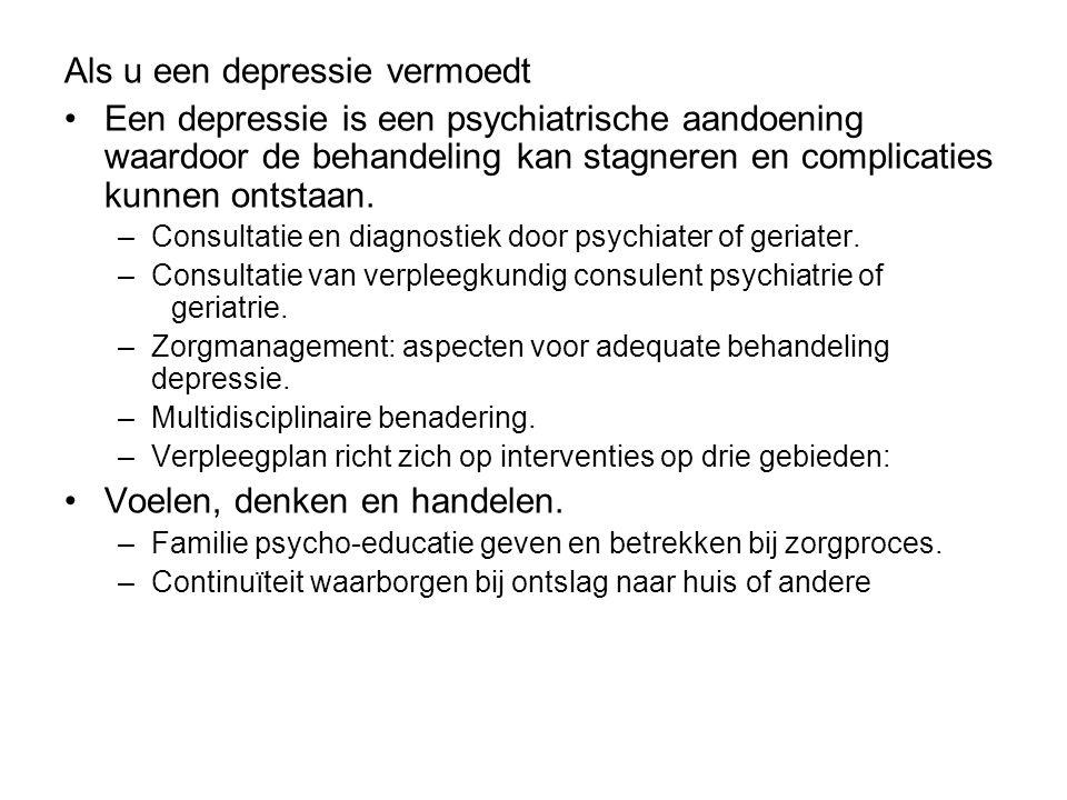 Als u een depressie vermoedt Een depressie is een psychiatrische aandoening waardoor de behandeling kan stagneren en complicaties kunnen ontstaan. –Co