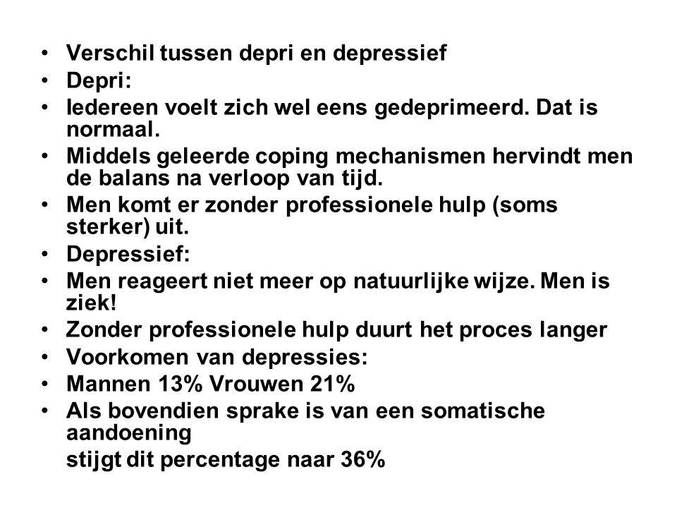 Verschil tussen depri en depressief Depri: Iedereen voelt zich wel eens gedeprimeerd. Dat is normaal. Middels geleerde coping mechanismen hervindt men