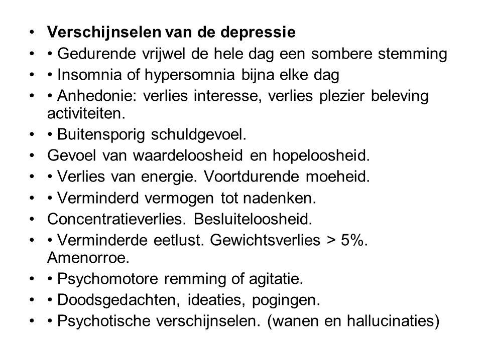 Oorzaken van een depressie Veelal een combinatie van vele factoren Psychische oorzaken Neurotische karaktertrekken, (negatief zelfbeeld) Persoonlijkheidsstoornis ( Alle clusters) Sociale oorzaken Verlieservaringen als rouw, echtscheiding, werkeloosheid, Sociaal isolement (ouderen) Biologische oorzaken Somatische aandoeningen CVA, Parkinson, Endocrien, Infecties Erfelijke factoren, Medicatie: anti-hypertensiva, antipsychotica, corticosteroiden