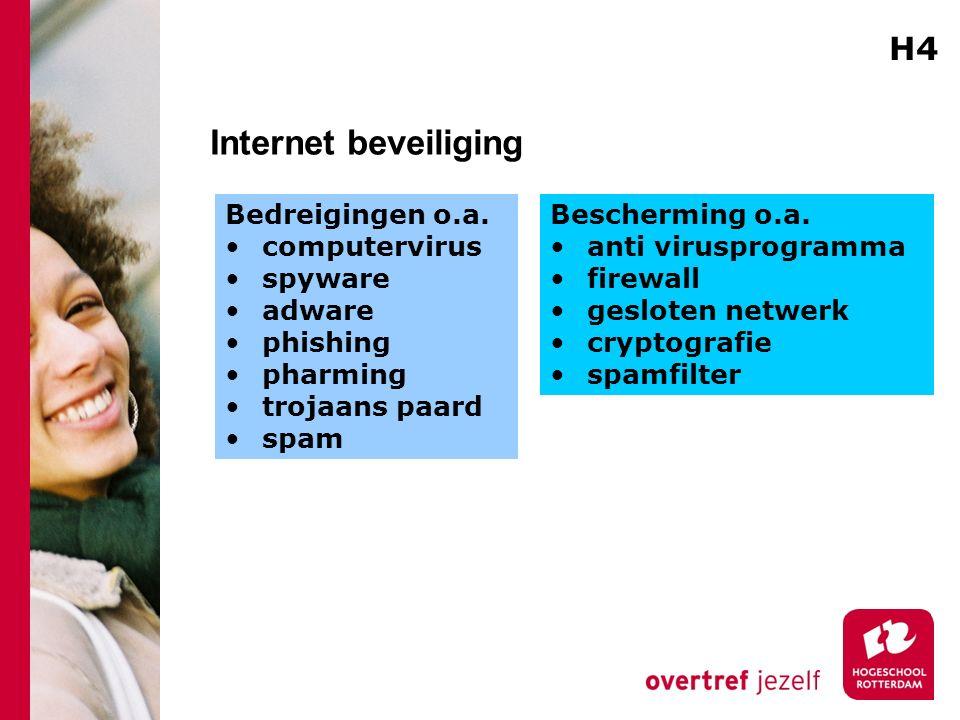 Internet beveiliging Bedreigingen o.a. computervirus spyware adware phishing pharming trojaans paard spam Bescherming o.a. anti virusprogramma firewal
