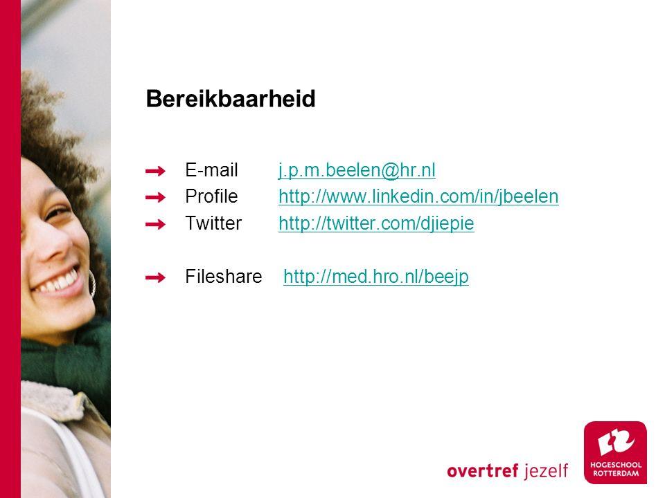 Bereikbaarheid E-mailj.p.m.beelen@hr.nlj.p.m.beelen@hr.nl Profilehttp://www.linkedin.com/in/jbeelenhttp://www.linkedin.com/in/jbeelen Twitterhttp://tw