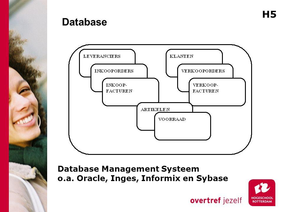 Database Database Management Systeem o.a. Oracle, Inges, Informix en Sybase H5