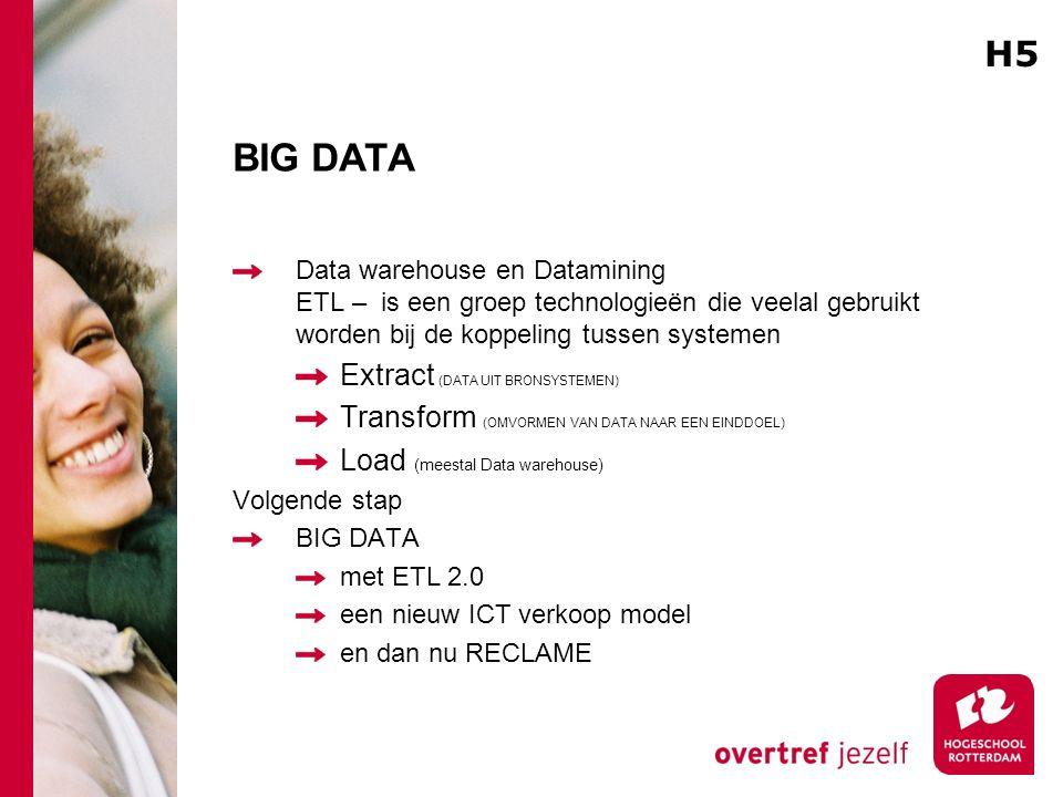 BIG DATA Data warehouse en Datamining ETL – is een groep technologieën die veelal gebruikt worden bij de koppeling tussen systemen Extract (DATA UIT B