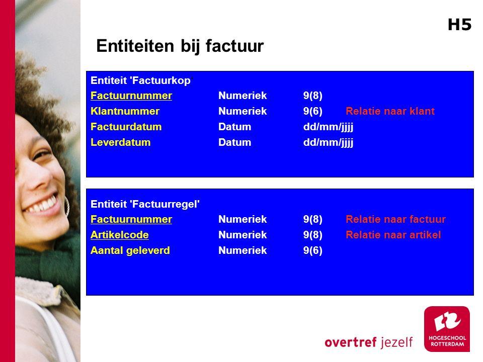 Entiteiten bij factuur Entiteit 'Factuurkop' Factuurnummer Numeriek 9(8) KlantnummerNumeriek 9(6) Relatie naar klant FactuurdatumDatumdd/mm/jjjj Lever