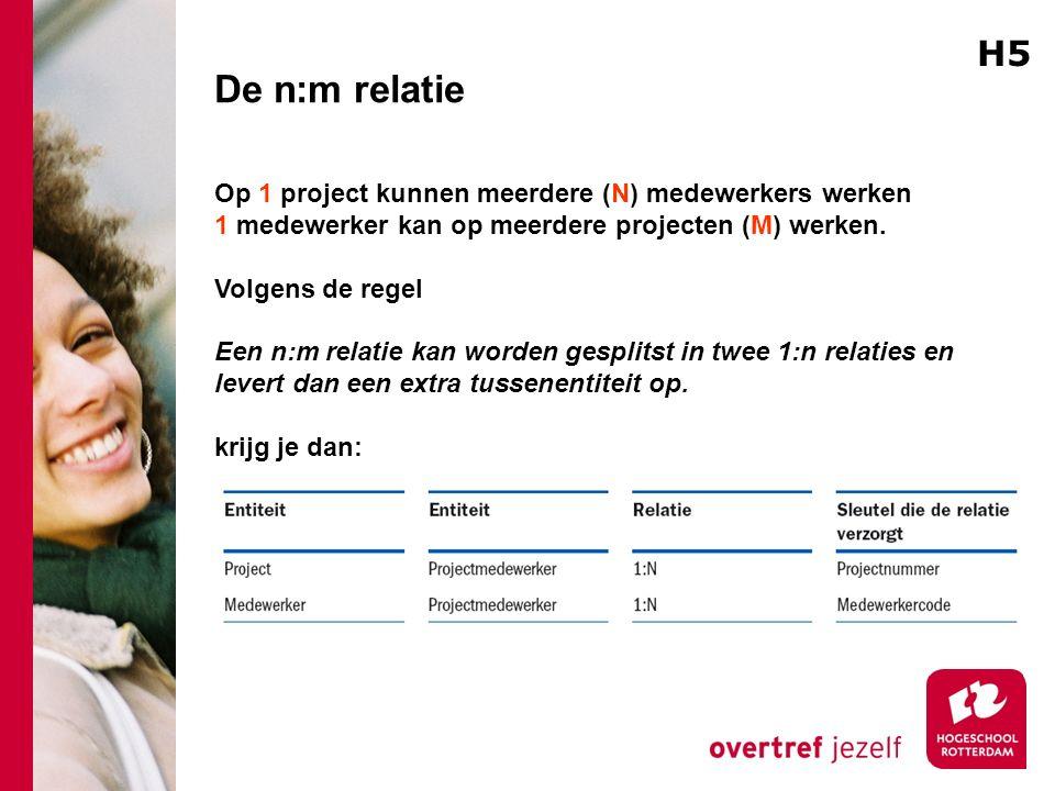 De n:m relatie Op 1 project kunnen meerdere (N) medewerkers werken 1 medewerker kan op meerdere projecten (M) werken. Volgens de regel Een n:m relatie