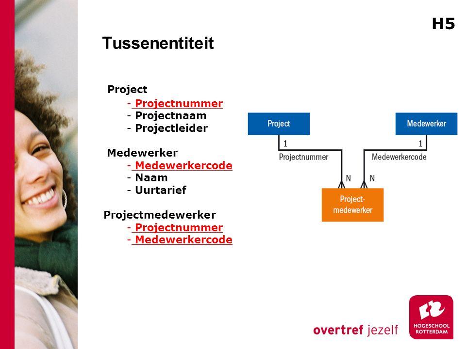 Tussenentiteit Project - Projectnummer - Projectnaam - Projectleider Medewerker - Medewerkercode - Naam - Uurtarief Projectmedewerker - Projectnummer