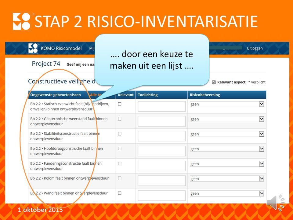 STAP 2 RISICO-INVENTARISATIE 1 oktober 2015 ….