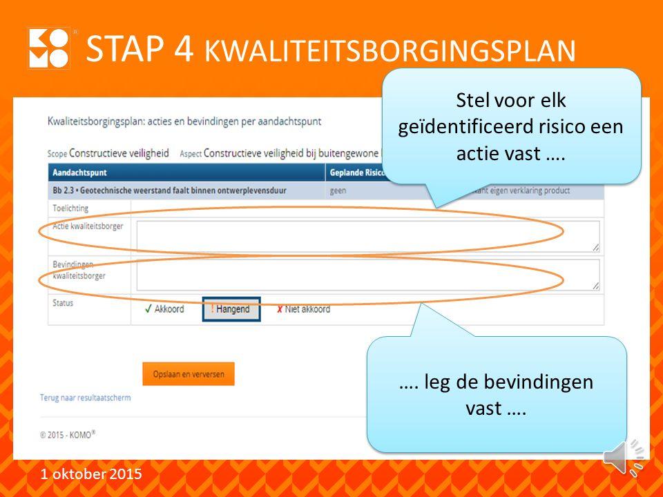 STAP 3 RISICOPROFIEL 1 oktober 2015 …. en voor elk beoordelingsaspect.