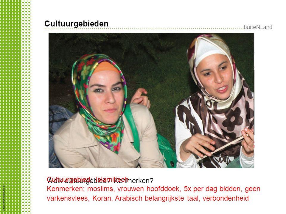 Cultuurgebieden Welk cultuurgebied? Kenmerken? Cultuurgebied: Islamitisch Kenmerken: moslims, vrouwen hoofddoek, 5x per dag bidden, geen varkensvlees,