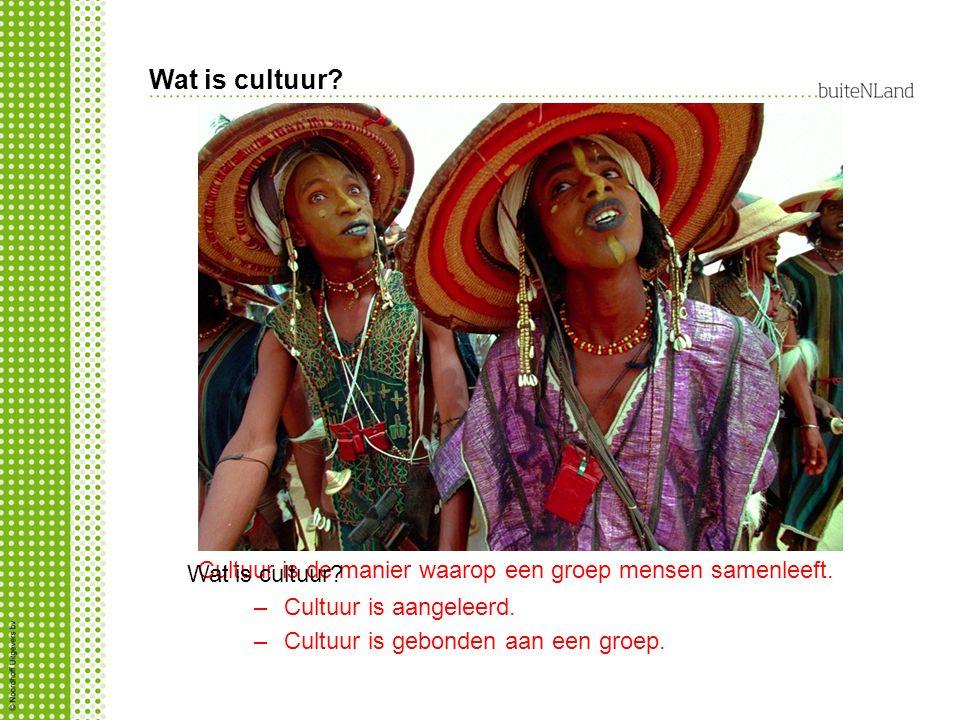 Cultuur is de manier waarop een groep mensen samenleeft. –Cultuur is aangeleerd. –Cultuur is gebonden aan een groep. Wat is cultuur? Zelfde foto als d