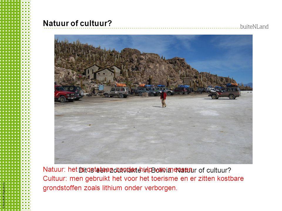 Dit is een zoutvlakte in Bolivia. Natuur of cultuur? Natuur: het is ontstaan zonder hulp van mensen. Cultuur: men gebruikt het voor het toerisme en er