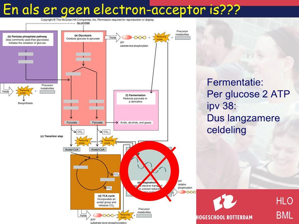 En als er geen electron-acceptor is??? HLO BML Fermentatie: Per glucose 2 ATP ipv 38: Dus langzamere celdeling