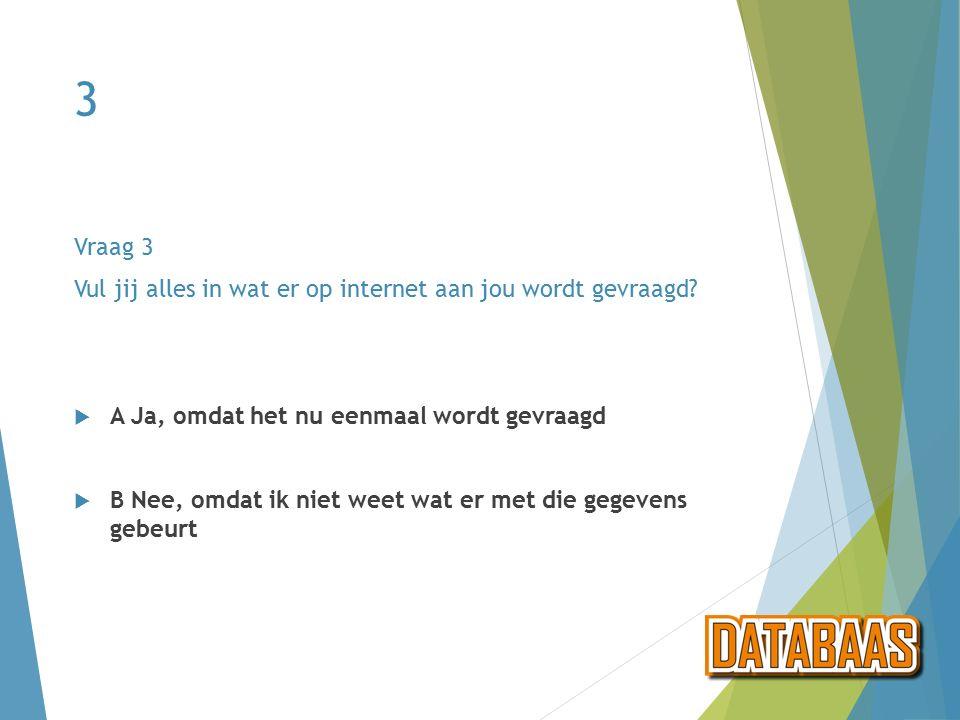 Vraag 3 even met de klas praten  We zijn enorm benieuwd naar wat jij doet als er iets wordt gevraagd op internet.