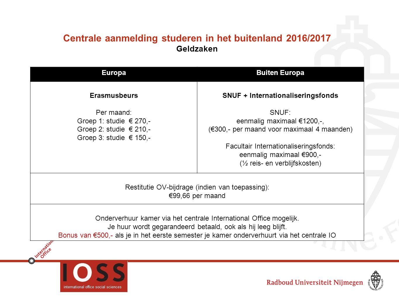 Centrale aanmelding studeren in het buitenland 2016/2017 Geldzaken EuropaBuiten Europa Erasmusbeurs Per maand: Groep 1: studie € 270,- Groep 2: studie