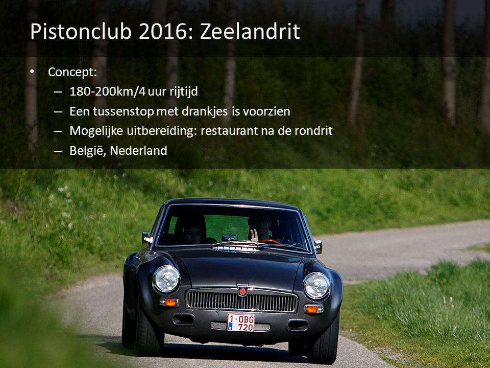Pistonclub 2016: Zeelandrit Concept: – 180-200km/4 uur rijtijd – Een tussenstop met drankjes is voorzien – Mogelijke uitbereiding: restaurant na de rondrit – België, Nederland