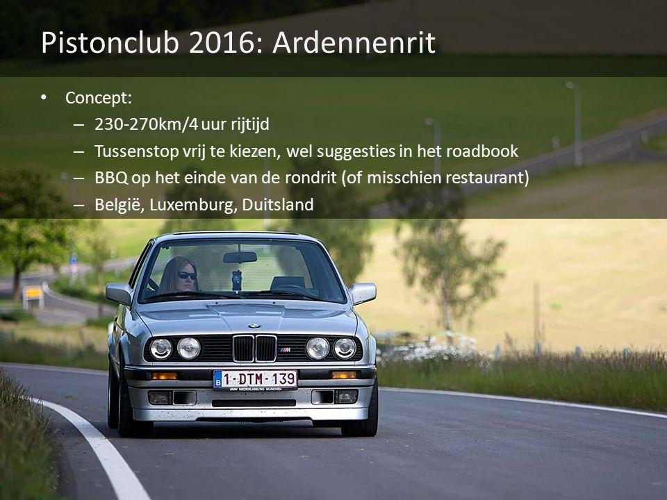 Pistonclub 2016: Ardennenrit Concept: – 230-270km/4 uur rijtijd – Tussenstop vrij te kiezen, wel suggesties in het roadbook – BBQ op het einde van de rondrit (of misschien restaurant) – België, Luxemburg, Duitsland