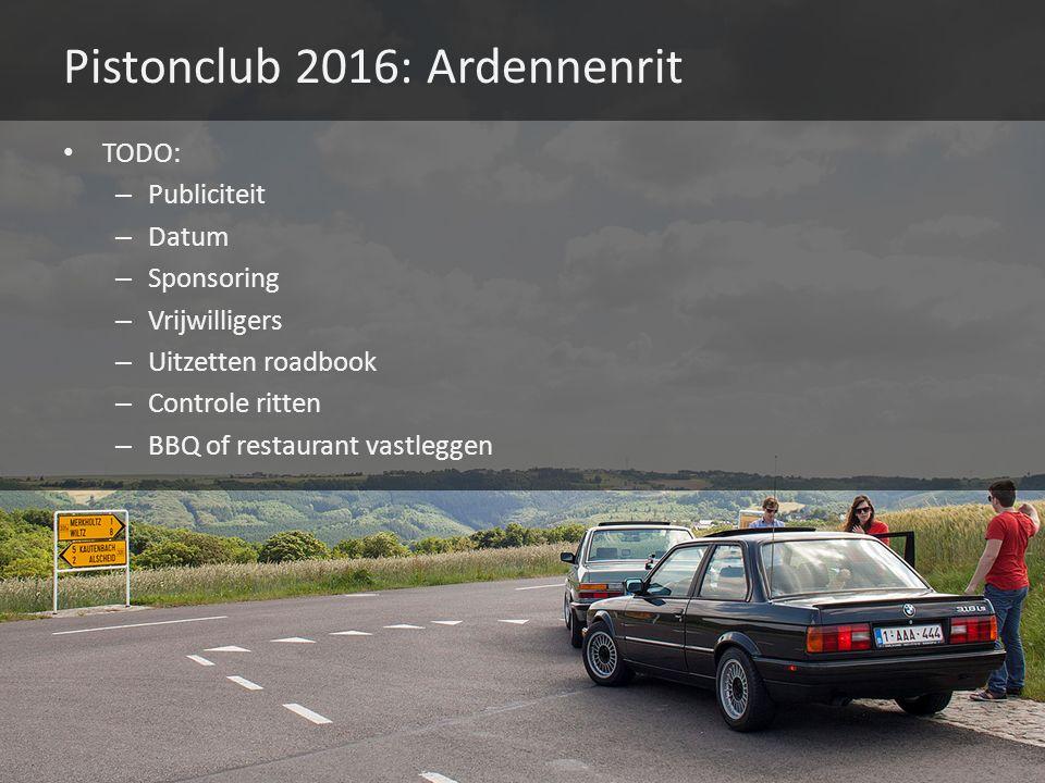 Pistonclub 2016: Ardennenrit TODO: – Publiciteit – Datum – Sponsoring – Vrijwilligers – Uitzetten roadbook – Controle ritten – BBQ of restaurant vastleggen