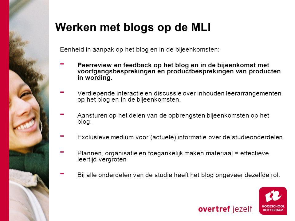 Werken met blogs op de MLI Eenheid in aanpak op het blog en in de bijeenkomsten: - Peerreview en feedback op het blog en in de bijeenkomst met voortgangsbesprekingen en productbesprekingen van producten in wording.