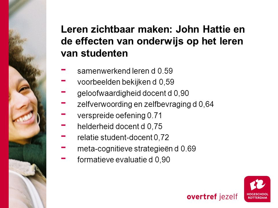 Leren zichtbaar maken: John Hattie en de effecten van onderwijs op het leren van studenten - samenwerkend leren d 0.59 - voorbeelden bekijken d 0,59 - geloofwaardigheid docent d 0,90 - zelfverwoording en zelfbevraging d 0,64 - verspreide oefening 0.71 - helderheid docent d 0,75 - relatie student-docent 0,72 - meta-cognitieve strategieën d 0.69 - formatieve evaluatie d 0,90