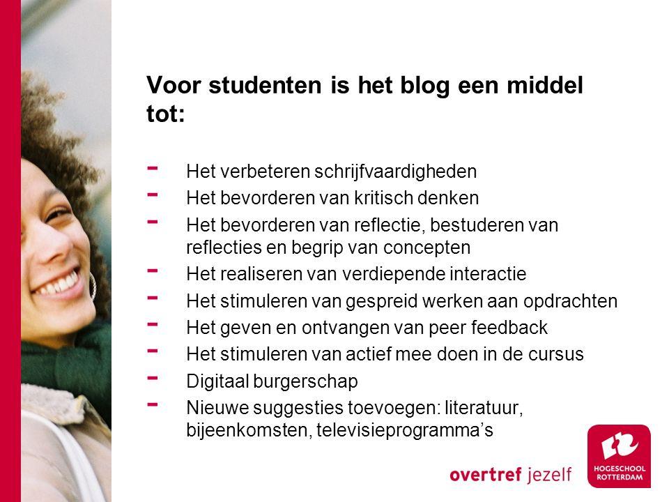 Voor docenten is het blog een middel tot: - Zicht op de wording van de producten van de studenten.