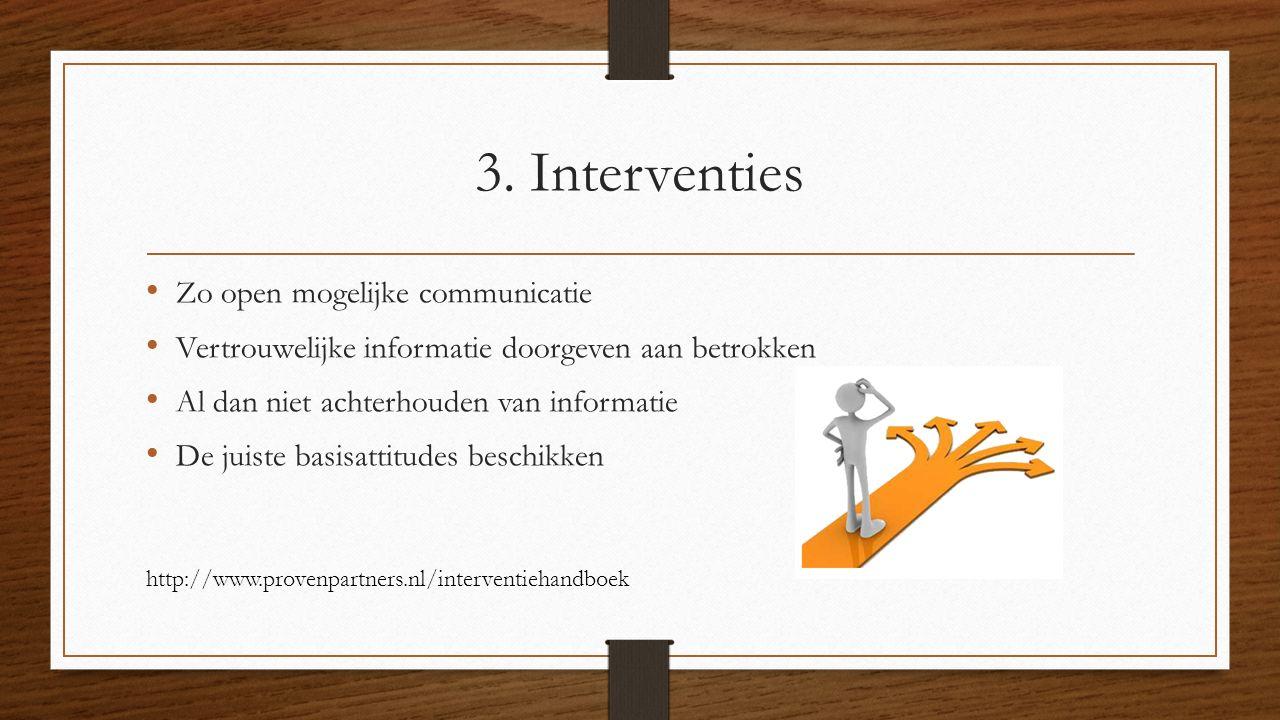 3. Interventies Zo open mogelijke communicatie Vertrouwelijke informatie doorgeven aan betrokken Al dan niet achterhouden van informatie De juiste bas