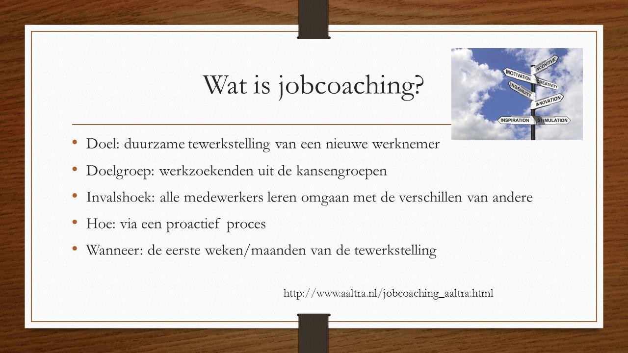 Wat is jobcoaching? Doel: duurzame tewerkstelling van een nieuwe werknemer Doelgroep: werkzoekenden uit de kansengroepen Invalshoek: alle medewerkers
