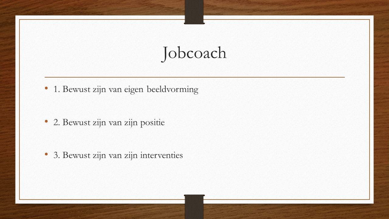 Jobcoach 1. Bewust zijn van eigen beeldvorming 2. Bewust zijn van zijn positie 3. Bewust zijn van zijn interventies