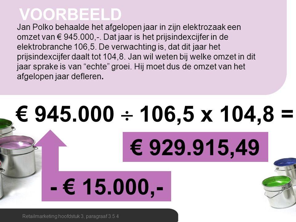 Jan Polko behaalde het afgelopen jaar in zijn elektrozaak een omzet van € 945.000,-. Dat jaar is het prijsindexcijfer in de elektrobranche 106,5. De v