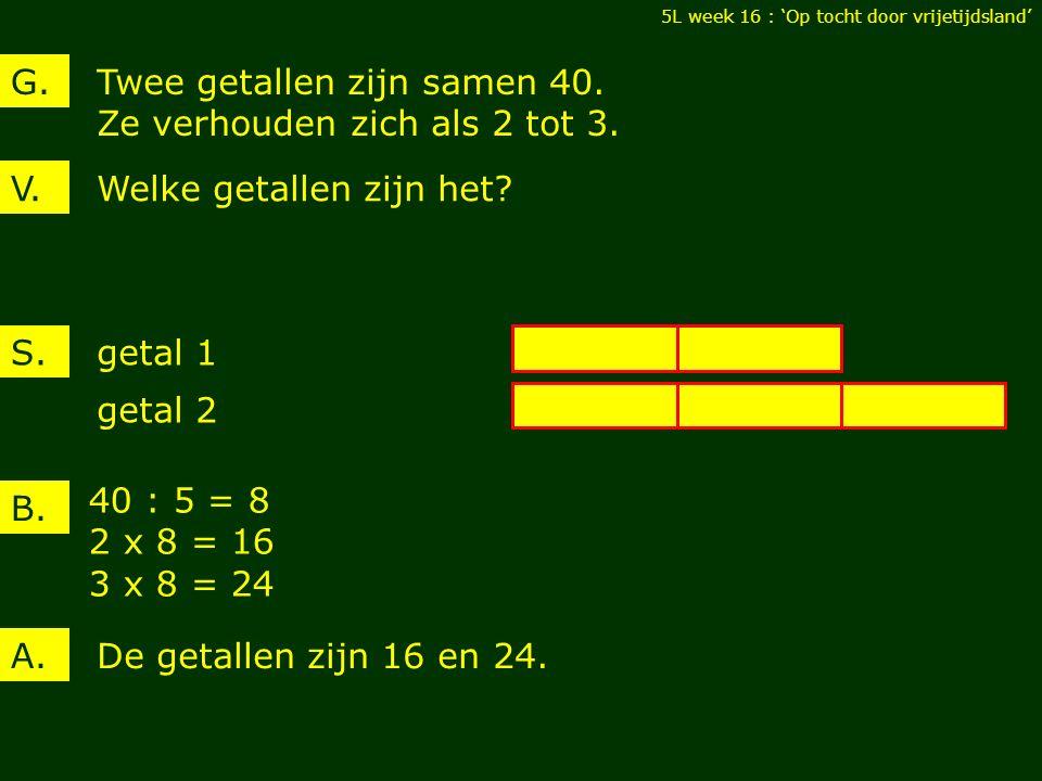 Twee getallen zijn samen 40. Ze verhouden zich als 2 tot 3.
