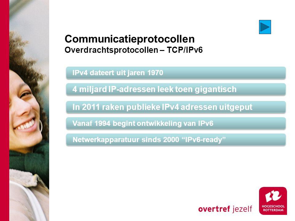 Communicatieprotocollen Overdrachtsprotocollen – TCP/IPv6 IPv4 dateert uit jaren 1970 4 miljard IP-adressen leek toen gigantisch Vanaf 1994 begint ontwikkeling van IPv6 In 2011 raken publieke IPv4 adressen uitgeput Netwerkapparatuur sinds 2000 IPv6-ready