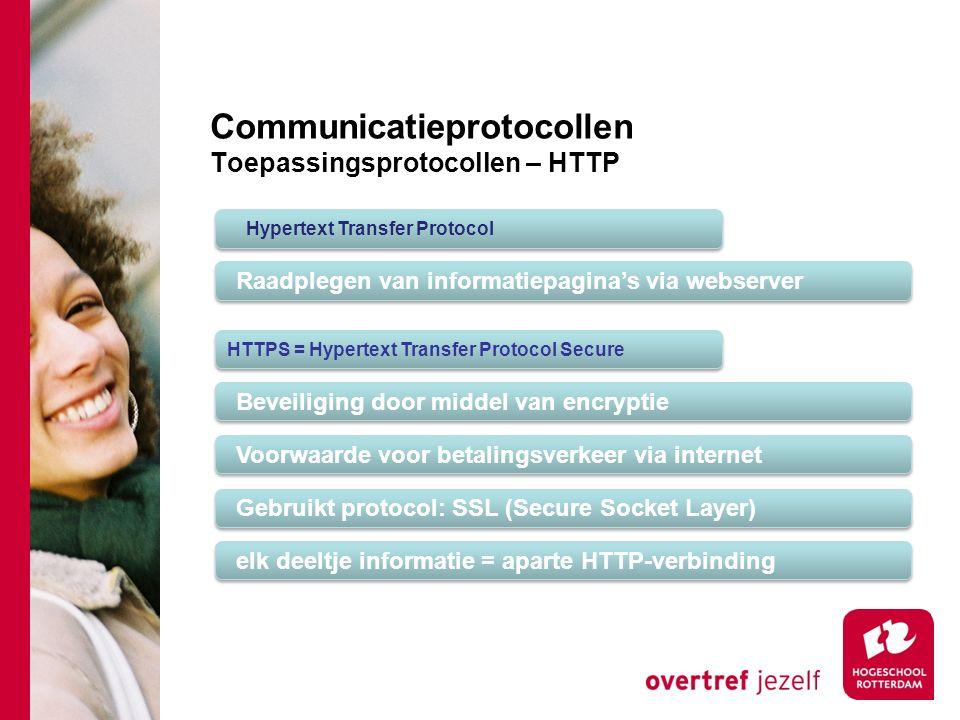 Communicatieprotocollen Toepassingsprotocollen – HTTP Hypertext Transfer Protocol Raadplegen van informatiepagina's via webserver HTTPS = Hypertext Transfer Protocol Secure Beveiliging door middel van encryptie Voorwaarde voor betalingsverkeer via internet Gebruikt protocol: SSL (Secure Socket Layer) elk deeltje informatie = aparte HTTP-verbinding