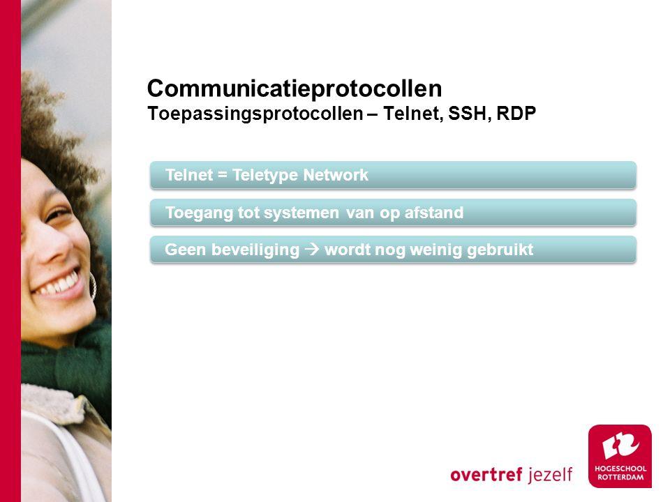 Communicatieprotocollen Toepassingsprotocollen – Telnet, SSH, RDP Telnet = Teletype Network Toegang tot systemen van op afstand Geen beveiliging  wordt nog weinig gebruikt