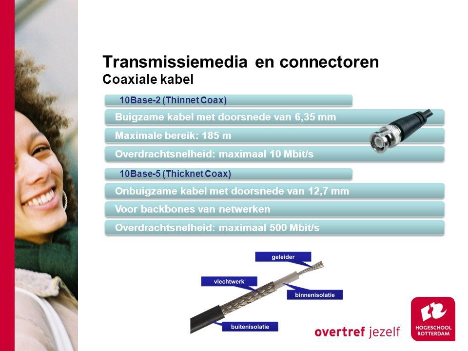 Transmissiemedia en connectoren Coaxiale kabel 10Base-2 (Thinnet Coax) Buigzame kabel met doorsnede van 6,35 mm Maximale bereik: 185 m Overdrachtsnelheid: maximaal 10 Mbit/s 10Base-5 (Thicknet Coax) Onbuigzame kabel met doorsnede van 12,7 mm Voor backbones van netwerken Overdrachtsnelheid: maximaal 500 Mbit/s