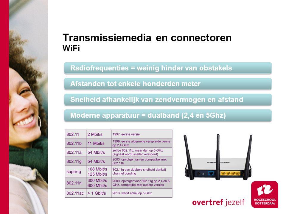 Transmissiemedia en connectoren WiFi Radiofrequenties = weinig hinder van obstakels Afstanden tot enkele honderden meter Snelheid afhankelijk van zendvermogen en afstand Moderne apparatuur = dualband (2,4 en 5Ghz)