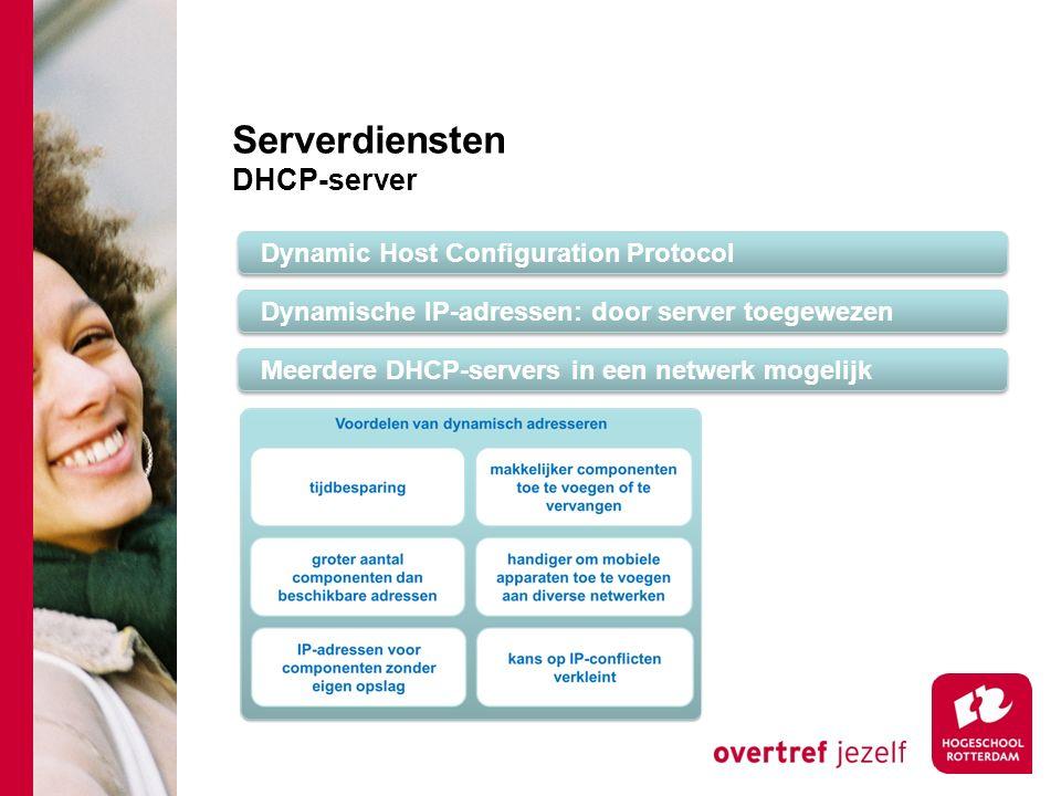 Serverdiensten DHCP-server Dynamic Host Configuration Protocol Dynamische IP-adressen: door server toegewezen Meerdere DHCP-servers in een netwerk mogelijk