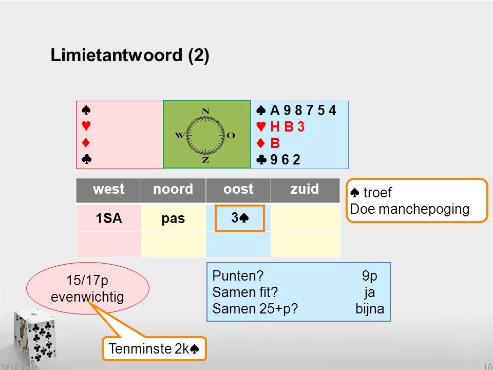 1e10 v3.0 10 Limietantwoord (2) ♠♥♦♣♠♥♦♣ ♠A 9 8 7 5 4 ♥H B 3 ♦B ♣9 6 2 westnoordoostzuid 1SApas Wat heeft partner.