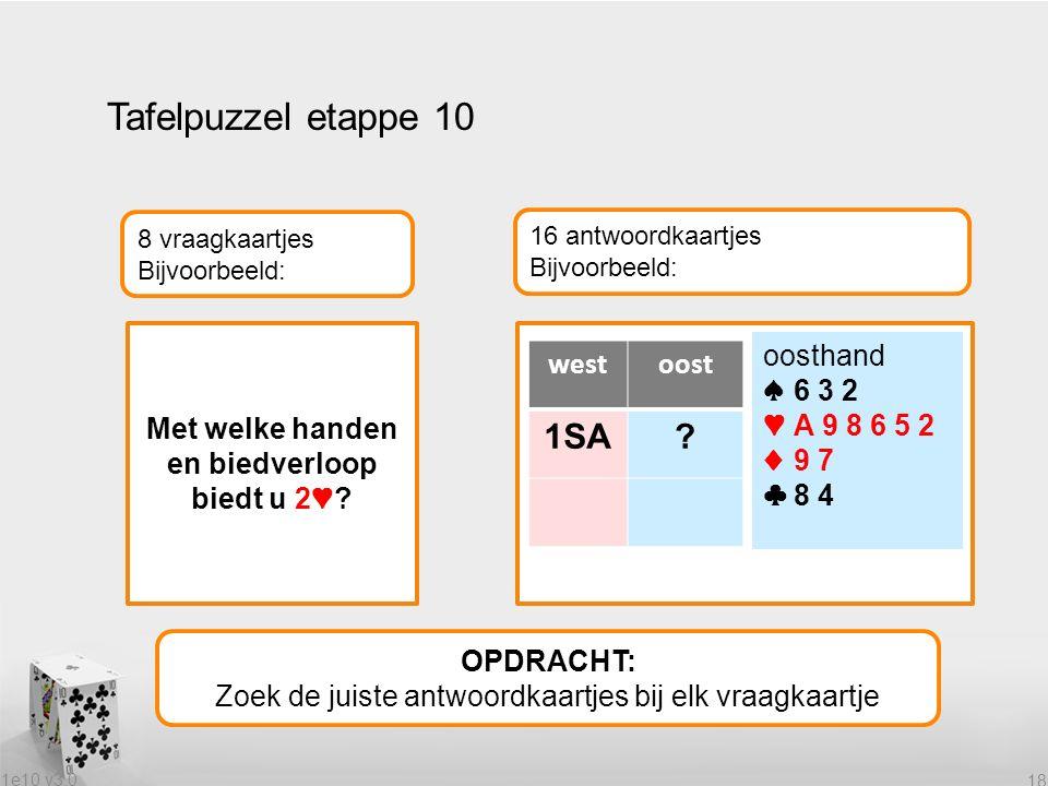 1e10 v3.0 18 Tafelpuzzel etappe 10 OPDRACHT: Zoek de juiste antwoordkaartjes bij elk vraagkaartje 8 vraagkaartjes Bijvoorbeeld: 16 antwoordkaartjes Bijvoorbeeld: Met welke handen en biedverloop biedt u 2♥.